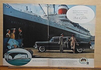 1955 double page magazine ad for Cadillac - Sedan at S.S. United States ship