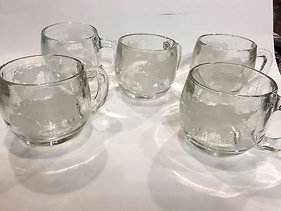 5 Nescafe / Nestle  Vintage Clear Glass Frosted World Globe Mugs 1970's  Perfect