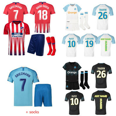18-19 Football Soccer Club Kits Kids Boys Youth Short Sleeve Jersey Outfit+Socks