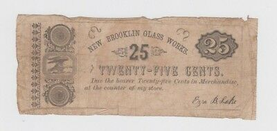 Obsolete Currency Brooklin Glass Works New Jersey vg