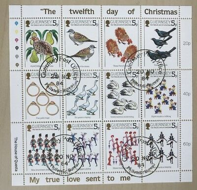 Guernsey 1984 The Twelve Days Of Christmas Sheetlet CTO