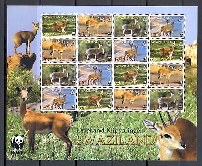 Swaziland Sheet Of 16 Stamps ** Mnh Wild Animals --Wwf