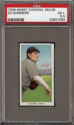 Rare 1909-11 T206 Ed Summers Sweet Caporal 350 /25 Detroit PSA 5.5 EX + 1 Higher