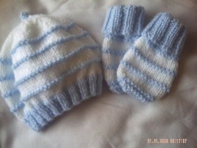 Hand Knitted Blue And White Striped Hat And Mittens  Size 3-6 Months.