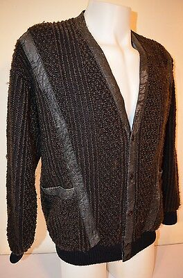 New Roads Jazz Cosby Leather Fuzzy HipHop Indie Retro VTG 80s 90s L Sweater Vest