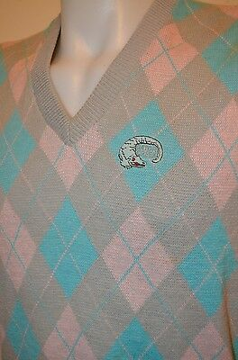 GATOR CREEK Sarasota Florida Aureus Pastel Plaid Golf Golfer USA VTG 80s L VEST