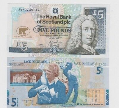 Scotland Paper Money  5 pound Jack Nicklaus 2 notes uncirculated