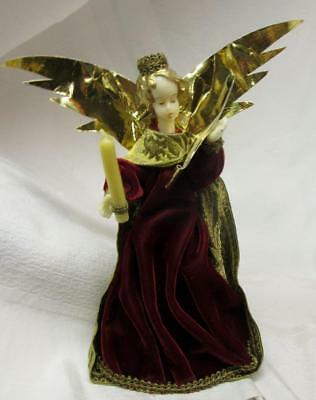 Vintage German KOESTEL WAX ANGEL TREE TOPPER w RED VEVLET & BROCADE,FOIL WINGS