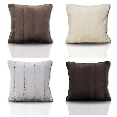 "Alpine Log Cabin Design Super Soft Faux Fur Fluffy Filled Cushion Cover 18""& 22"""