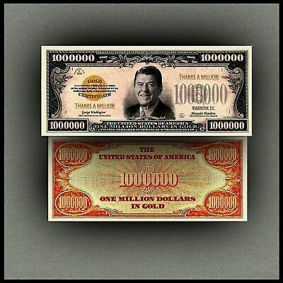 Ronald Reagan Million Dollar Bill Banknote Novelty Money