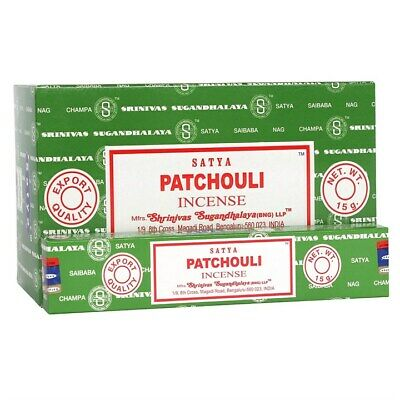 ❤️ Bulk Buy 3 or 12 Pack Box 15g Satya Patchouli Nag Champa Incense Joss Sticks