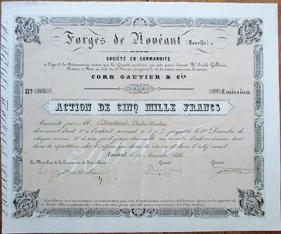 Forges de Noveant (Moselle) 1856 Stock Certificate - French/France - Action