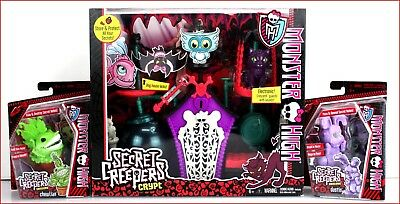 LOT 3- Monster High SECRET Creepers CRYPT Motion Detector + 2 PETS Dustin + FISH