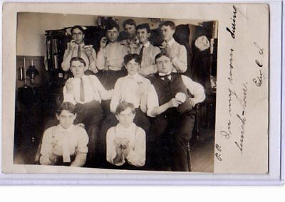 Real Photo Postcard RPPC - Male Camaraderie - Students Having Lunch in Room