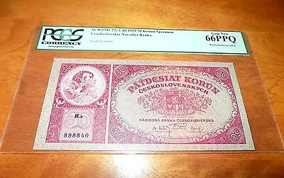CZECHOSLOVAKIA 1929 50 KORUN SPECIMAN Perforated PCGS 66 PPQ 66PPQ GEM NEW RARE