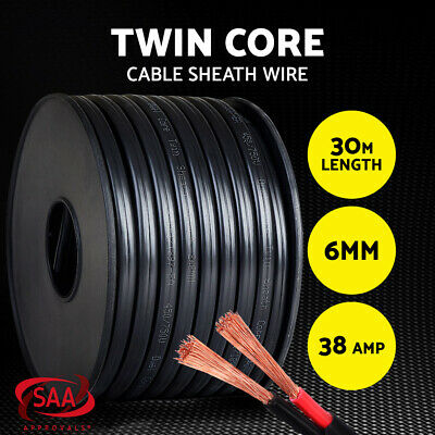 Twin Core Wire 30M 6MM SAA 2 Sheath Electrical Cable Automotive CARAVAN 4X4 12V