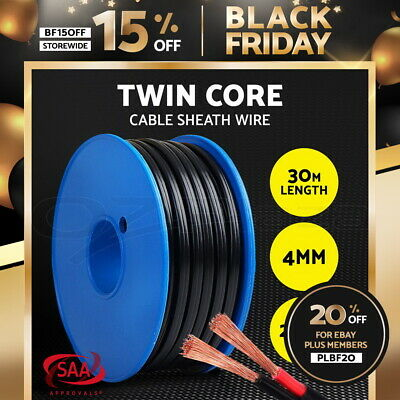 4MM Electrical Cable Electric Twin Core Extension Wire 30M Car 450V 2 Sheath
