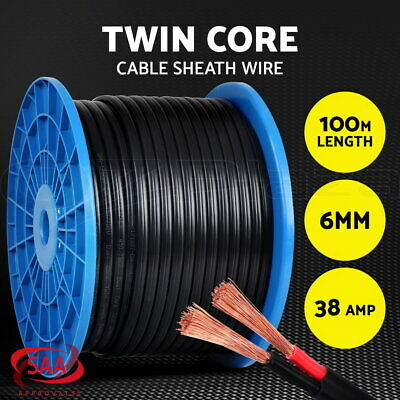 6MM Electrical Cable Electric Twin Core Extension Wire 100M Car 450V 2 Sheath