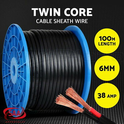 Twin Core Wire Electrical Cable 100M 6MM SAA 2 Sheath Automotive CARAVAN 4X4 12V