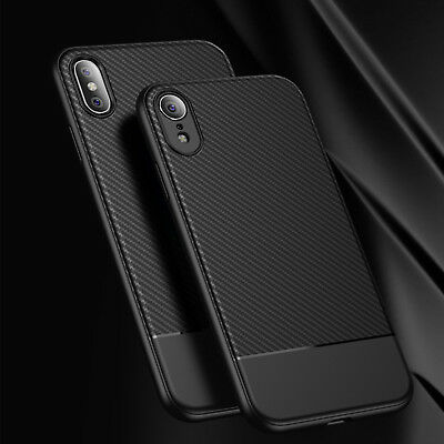 For iPhone XS Max XR 2018 Flexible TPU Carbon Fiber Case Shockproof Cover Bumper