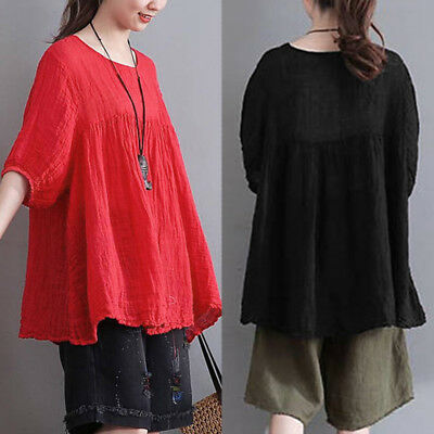 UK 8-24 ZANZEA Women Short Sleeve Ruffle Baggy Loose Blouse Shirt Tops Oversized