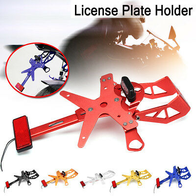 Universal Adjustable Motorcycle License Number Plate Holder Bracket Tail Light