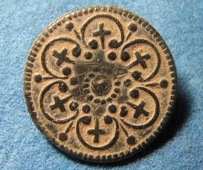 Beautiful old bronze collectible button circa 19 century or Earlier with Crosses