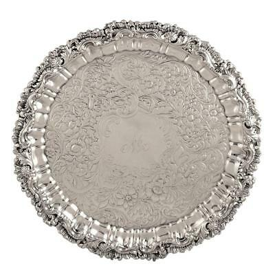 "Antique George Iv Sterling Silver 12"" Tray/salver - 1826"