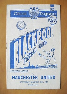 BLACKPOOL v MANCHESTER UNITED 1954/1955 *VG Condition Football Programme*