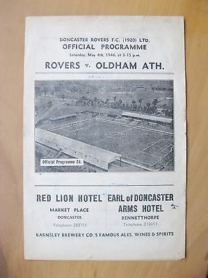 DONCASTER ROVERS v OLDHAM ATHLETIC 1945/1946 *VG Condition Football Programme*