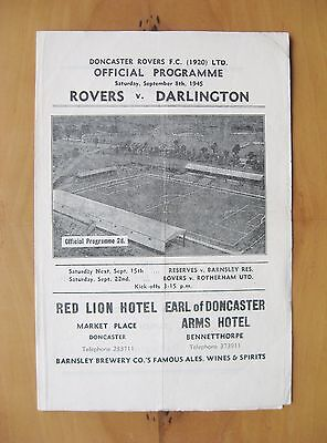 DONCASTER ROVERS v DARLINGTON 1945/1946 *VG Condition Football Programme*