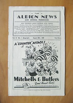 WEST BROMWICH ALBION v CHARLTON ATHLETIC 1949/1950 *VG Cond Football Programme*