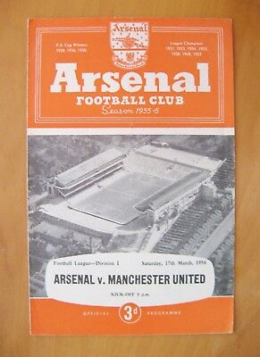 ARSENAL v MANCHESTER UNITED 1955/1956 *Excellent Condition Football Programme*