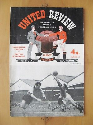 MANCHESTER UNITED v BOLTON 1956/1957 *1st Home Floodlit League Match Inc Token*
