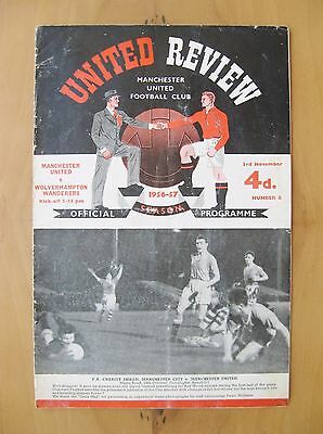 MANCHESTER UNITED v WOLVES 1956/1957 Good Condition Football Programme Inc Token