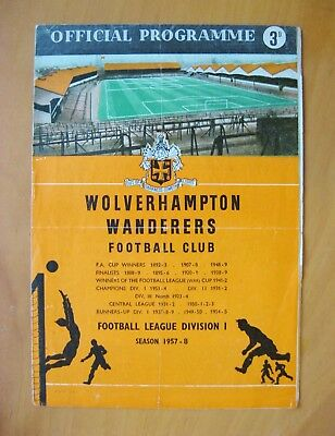 WOLVES v MANCHESTER UNITED 1957/1958 Fair Condition Football Programme - Munich