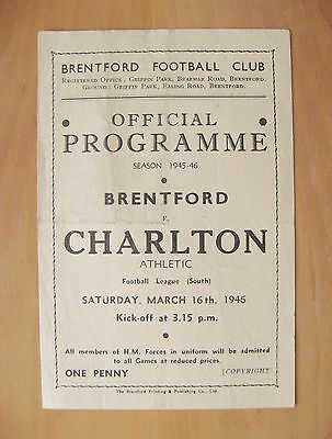 BRENTFORD v CHARLTON ATHLETIC 1945/1946 *VG Condition Football Programme*