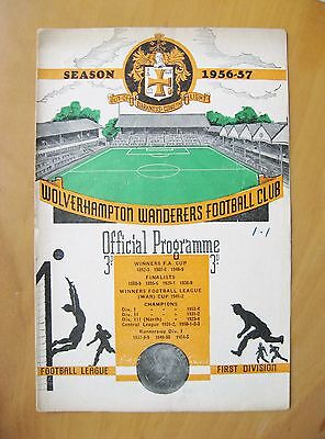 WOLVES v MANCHESTER UNITED 1956/1957 *Good Condition Football Programme*