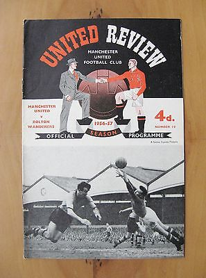 MANCHESTER UNITED v BOLTON 1956/1957 1st Home Floodlit League Match In Exc Cond