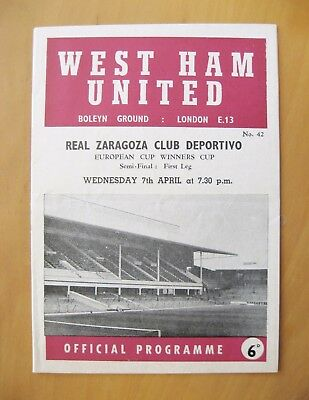 WEST HAM UNITED v REAL ZARAGOZA ECWC Semi-Final 1964/1965 *Exc Cond Programme*