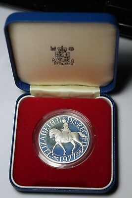 Great Britain 25 Pence 1977 SILVER Proof Boxed~Silver Jubilee~377k Minted~Fr/Shi