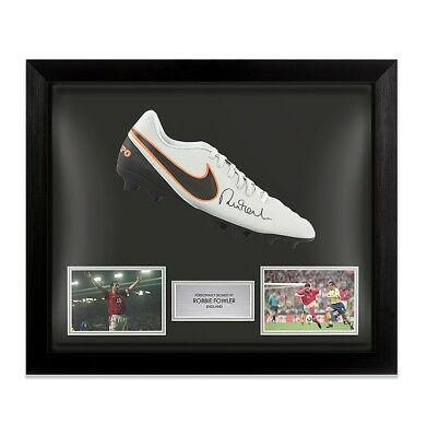 Framed Robbie Fowler Signed Football Boot - Nike Tiempo - England Autograph