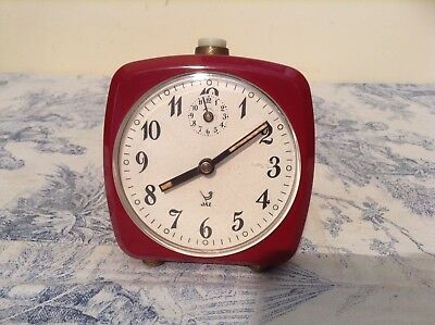 VINTAGE FRENCH ALARM CLOCK by JAZ - Red Case Working (1857)