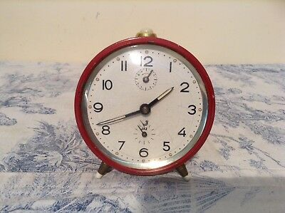 VINTAGE FRENCH ALARM CLOCK by JAZ - Red Case Working (1858)