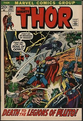 Thor #199 Great Copy! Vfn 8.0 Versus Pluto!  White Pages John Buscema Art 1972