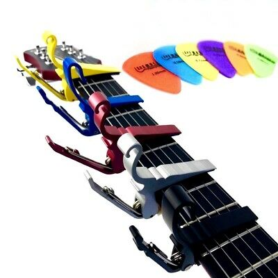 Groove Guitar Capo for both Electric and Acoustic Guitars + 6 FREE Plectrums