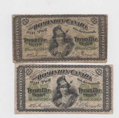 Canada  Paper money 2 old notes lower grade and up