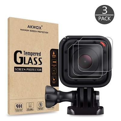 4 Pack Tempered Glass Screen Protector Gopro Hero 4/5 Session + 2 Lens Cap Cover