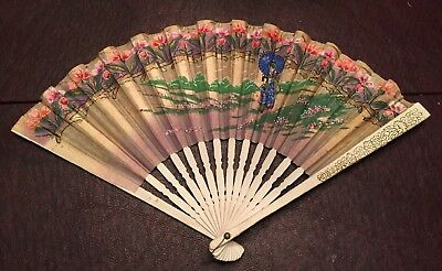 Antique Vintage Painted Folding Hand Fan Made In Japan Lady's Ladies