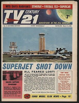 TV CENTURY 21 #8 MARCH 13th 1965. NICE 'ORIGINAL OWNER' COPY FIREBALL XL5/DALEKS